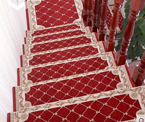 WONNA Anti-Skid Stairs Step Mat Indoor Floral Bullnose Carpet Non-Slip Easy Clean Stair Area Rug for Entry, Garage, Patio, High Traffic Areas