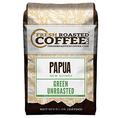 Fresh Roasted Coffee LLC, Green Unroasted Papua New Guinea Coffee Beans, 5 Pound Bag