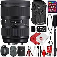 Sigma 24-35mm F2 ART DG HSM Lens for Nikon DSLR Cameras w/32gb Pro Photo and Travel Bundle