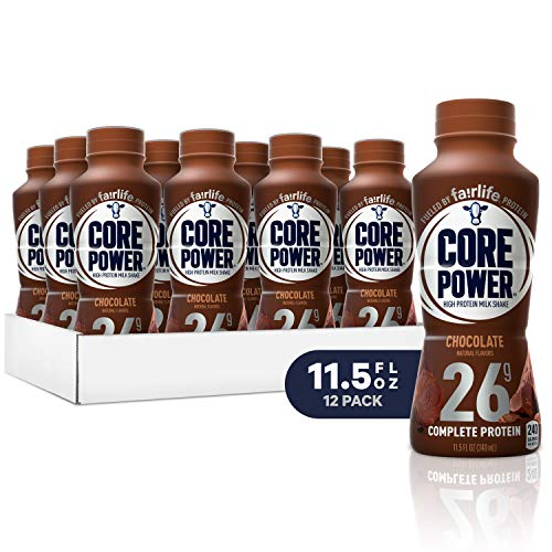 Core Power by fairlife High Protein (26g) Milk Shake, Chocolate, 11.5 Fl Oz bottles, Pack of 12 - Single Serve Strawberry