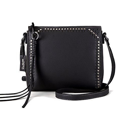 seOSTO Medium Crossbody Bags for Women, Shoulder Bag with Tassel Crossbody Purse Multi Pocket Bags (Black) ()