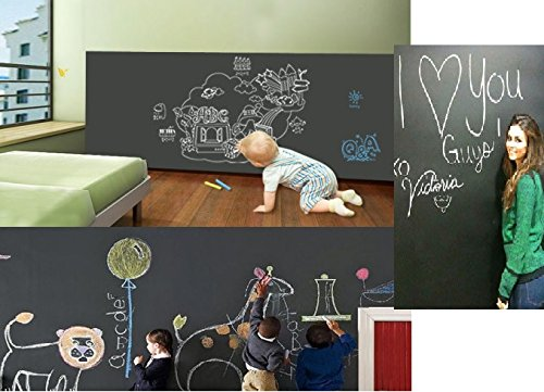 Duofire (Black,17.7*78.7inch) Vinyl chalkboard Peel and Stick Blackboard Sticker Memo Removable Vinyl Chalkboard Wall Sticker