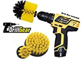 Multi-purpose Power Drill Brush Attachment by Drill Gear - for Cleaning Bathroom, Kitchen, Grout, Shower, Sink, Bathtub, Porcelain, Tiles - Set of 3 - Medium Stiffness - Yellow
