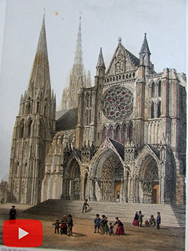 - Chartres France lot x 6 beautiful mid-19th century color lithographs old prints