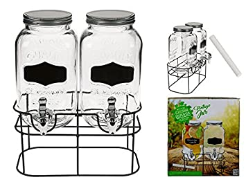 OOTB Doble de Cristal Fido - Dispensador de Bebidas, Cristal con Rosca de Metal, Transparente, 32.8 x 24.3 x 36.5 cm, 2 Unidades de Medida: Amazon.es: Hogar