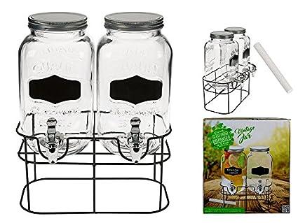 OOTB Doble de Cristal Fido – Dispensador de Bebidas, Cristal con Rosca de Metal,