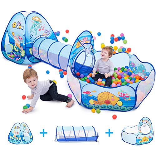 LOJETON Kids Play Tent, Tunnel & Ball Pit with Basketball Hoop for Boys, Girls and Toddlers - Indoor/Outdoor Playhouse