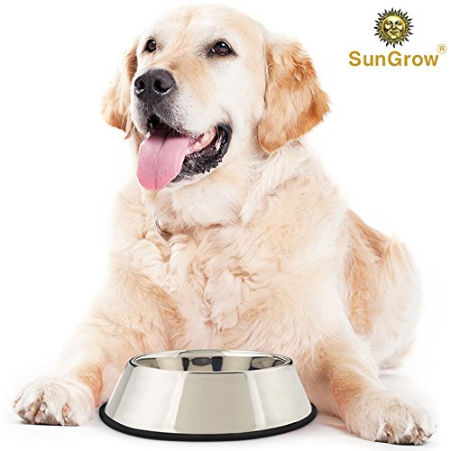 SunGrow 'No Spill' Jumbo Feeding Bowl (32 oz) for Dogs & Cats : Stainless Steel : Anti-Skid Rubber Base: Rust Resistant: Dishwasher Safe & Easy to Clean