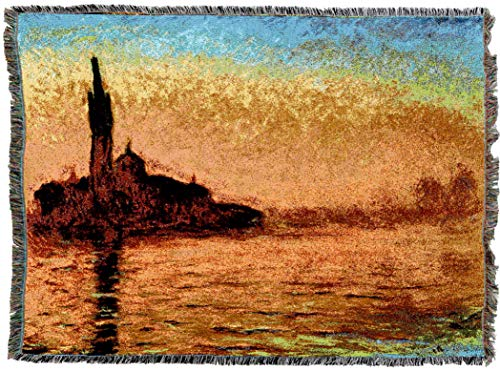 (Pure Country Weavers | San Giorgio Maggiore at Dusk Claude Monet Woven Tapestry Throw Blanket and Wall Hanging with Fringe Cotton USA 72x54)