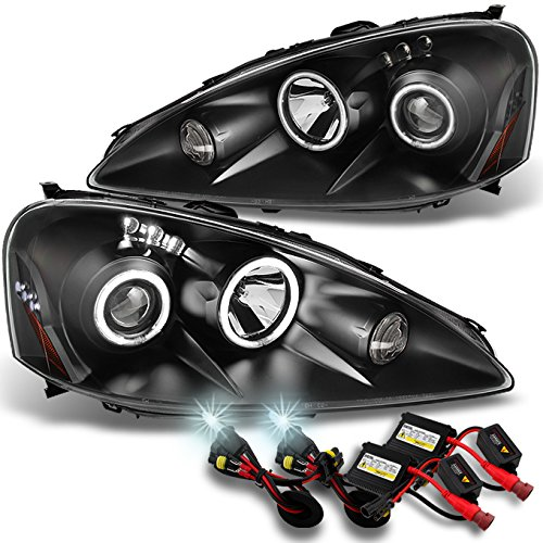 For 2005 2006 Acura RSX Integra DC5 Black Dual Halo Projector DRL LED Headlights + 6000K HID ()