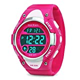 Girls Digital Sport Watch Kids Waterproof Outdoor Watches with Alarm Stopwatch Children LED Electronic Wristwatch for Youth Childrens - Pink