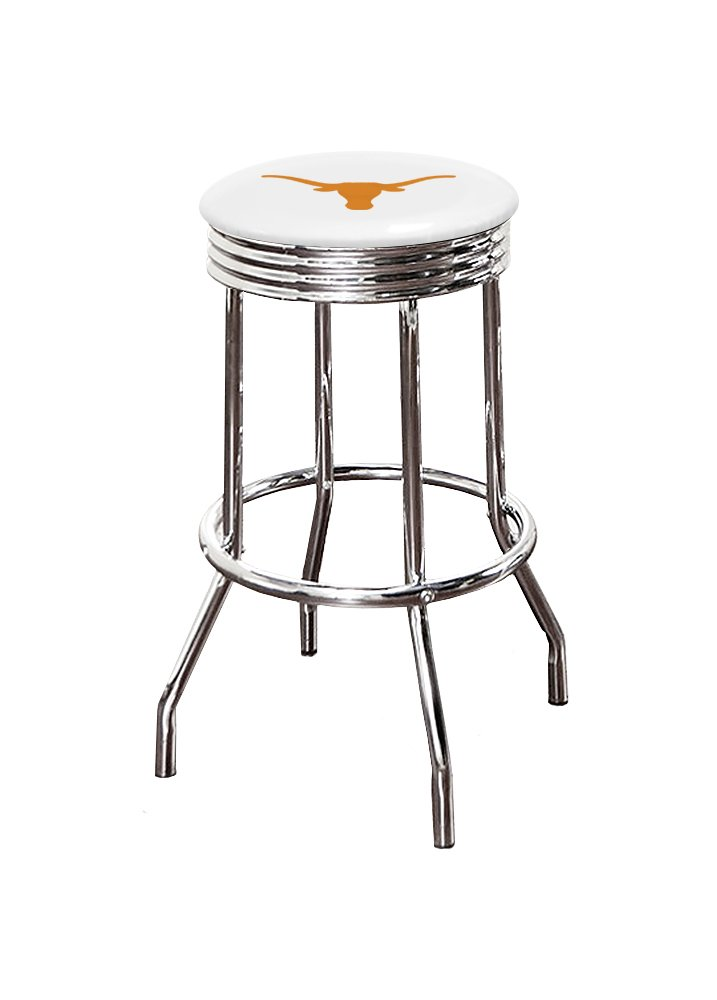 The Furniture Cove New 24 Counter Height Texas Longhorns Logo Themed Custom Specialty Chrome Swivel Seat Bar Stools with a Black Vinyl Seat Cushion