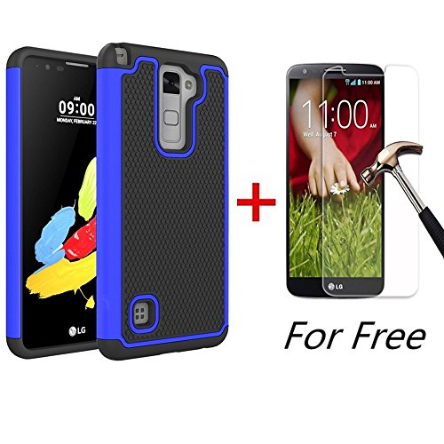 G Stylo 2 Case, LG LS775 Case, MCUK [Shock Absorption] Drop Protection Hybrid Dual Layer Armor Defender Protective Case with Free Tempered Glass Screen Protector (Blue) ()