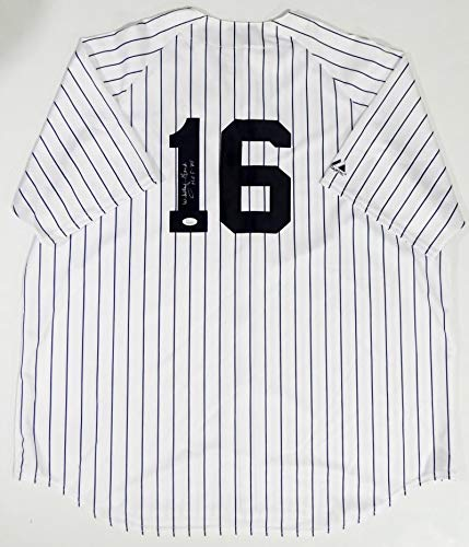(Whitey Ford Autographed New York Yankees White Majestic Jersey w/HOF- JSA Auth 1)