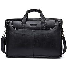 BOSTANTEN Leather Briefcase Laptop Bag with Messenger Bag for Men Black Large