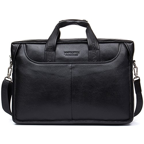 BOSTANTEN Leather Lawyers Briefcase Laptop Messenger Business Bags for Men Black ()
