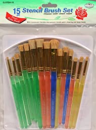 15pc Stencil Paint Brush Set Variety Pack with Orgnizer Tray