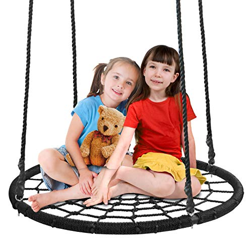 ZENY 40 Kids Web Tree Swing Spide Net Swing with Adjustable Hanging Rope,Great for Tree,Playground,Playroom