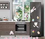 MISS FANTASY Easter Decorations Easter Eggs Stickers Easter Window Adhesive Clings Bunny Paw Decals Easter Wall Door Floor Decor Pack of 35 (Easter Bunny Sticker): more info