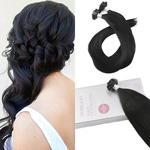 Moresoo 16 Inch Flat Tip Human Hair Extensions Pre Glued Hair Tip Hair Extensions Remy Hair Color  1 Jet Black 1G 1S 50G Human Hair Bonded Extensions