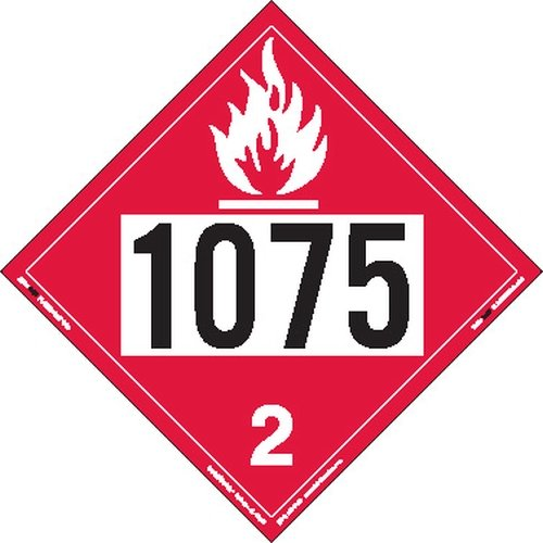Labelmaster ZVR81075 UN 1075 Flammable Gas Hazmat Placard, Removable Vinyl (Pack of 25) by Labelmaster®
