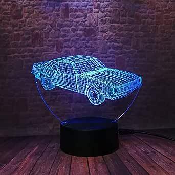 Lámparas 3D,Anime car,7 colores que cambian Interruptor táctil ...