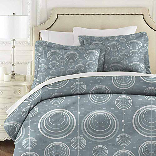 Geometric Bedding Set Full Wavy Short Lines Quenn (90x90 inches) - 3 Pieces (1 Duvet Cover + 2 Pillow Shams) - Ultra Soft and Breathable Comforter Cover