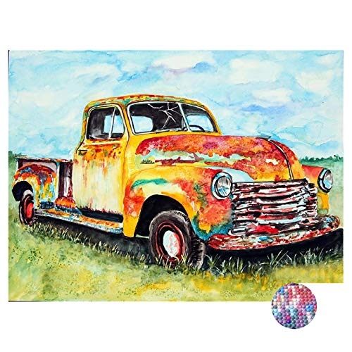 LIPHISFUN DIY 5D Diamond Painting by Number Kit for Adult, Full Round Resin Beads Drill Diamond Embroidery Dotz Kit Home Wall Decor,30x40cm,Vintage car
