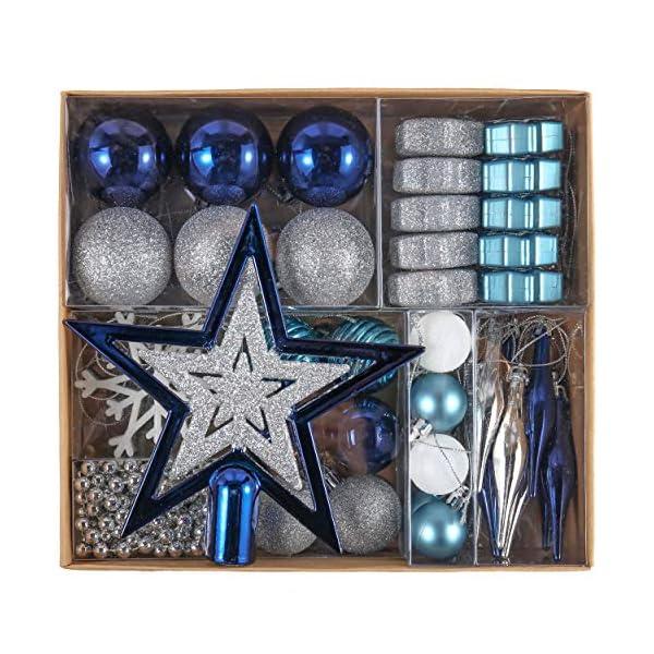 Valery Madelyn Palle di Natale 52 Pezzi di Palline di Natale, 3-5 cm Auguri Invernali Argento e Blu Infrangibili Ornamenti Palla di Natale Decorazione per la Decorazione Dell'Albero di Natale 1 spesavip
