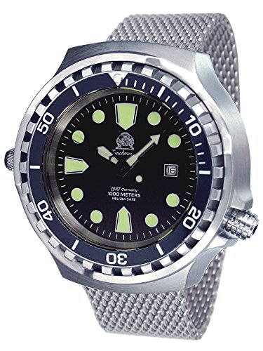 Big size 52mm case diver watch - Milanaise steel strap T0265-MIL by Tauchmeister 1937