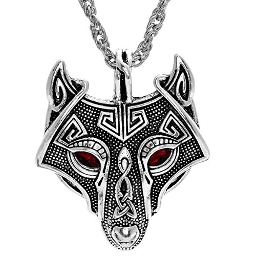 Green Man Silver Pendant - W WOOGGE Norse Vikings Vintage Pendant Men's Necklace Green Red Eye Wolf Head Animal Jewelry for Women