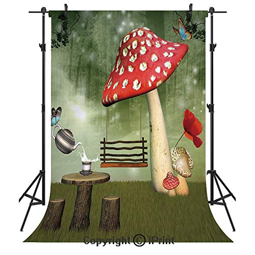 Mushroom Photography Backdrops,Picnic in Fantasy Garden Wood Table Poppy Flower Swing Teapot and Milk Splash Decorative,Birthday Party Seamless Photo Studio Booth Background Banner 5x7ft,Multicolor