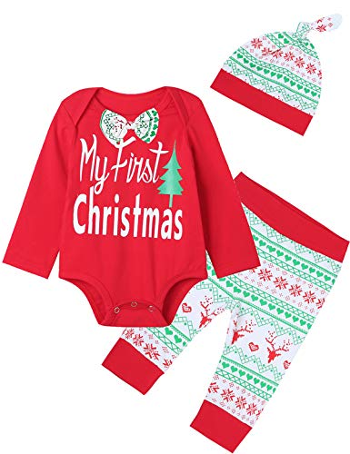 Mutiggee 4PCS Infant My First Christmas Outfits Baby Boys Xmas Romper with Bowtie (Red,3-6 Months)