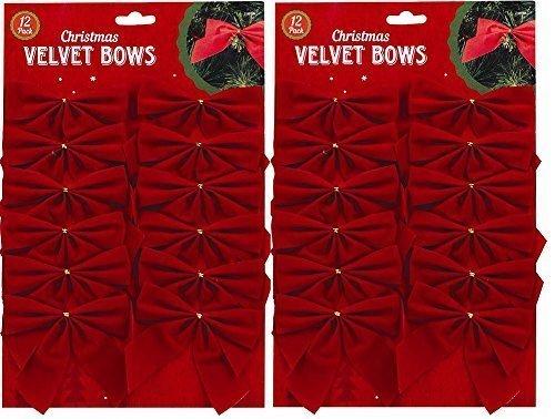 Fiocchi di velluto rosso per decorazioni natalizie, regali di Natale e lavoretti artigianali Red Christmas2015