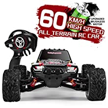 INGQU 1:12 Scale High Speed 60km/h 4WD Off-Road RC Car 2.4Ghz Brushless Remote Control Monster Truck (1:12 Black)