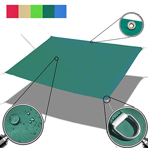 Alion Home Custom Sizes Straight Edge Waterproof Woven Sun Shade Sail for Car Tent, Carport, Canopy, Patio, Awning, Window, Pergola, Gazebo and RV (12.5' x 24', Forest Green)