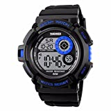 Digital Boys Watch Sports Seven Colors EL Light Alarm LED Backlight Stopwatch Waterproof - Blue