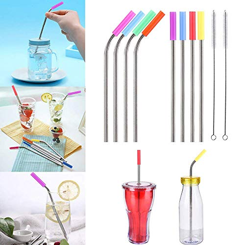 Metal Straws Set of 8, Gozheec 10.5 inch Reusable Stainless Steel Drinking Straws for 30oz / 20oz Tumblers with Silicone Tips(4 Straight|4 Bent|2 Brushes)