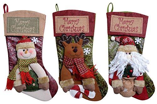 UPC 714686821339, QBSM Classic Christmas Stocking Decorations Gift Bag Xmas Character 3D Plush Linen Hanging Tag Set of 3 Santa, Snowman and Deer 19 inch