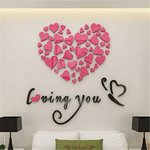 3D Wall Stickers, Fheaven Love Heart DIY Removable Vinyl Decal Art Mural Wall Stickers Home Room Decor (Pink)
