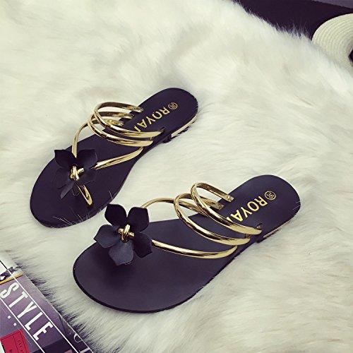 Dayiss Mädchen Damen Blumen Flache Sandalen Flip-Flops Strandschuhe Sommer Gold