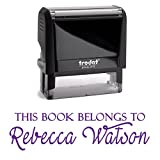 Purple Ink, Self Inking Stamp. Personalized; This Book Belongs To, From The Library or A Bank Deposit Stamp! Personalized Stamper. Fill In With Your Personal Details Into 2 Lines With Unique Font