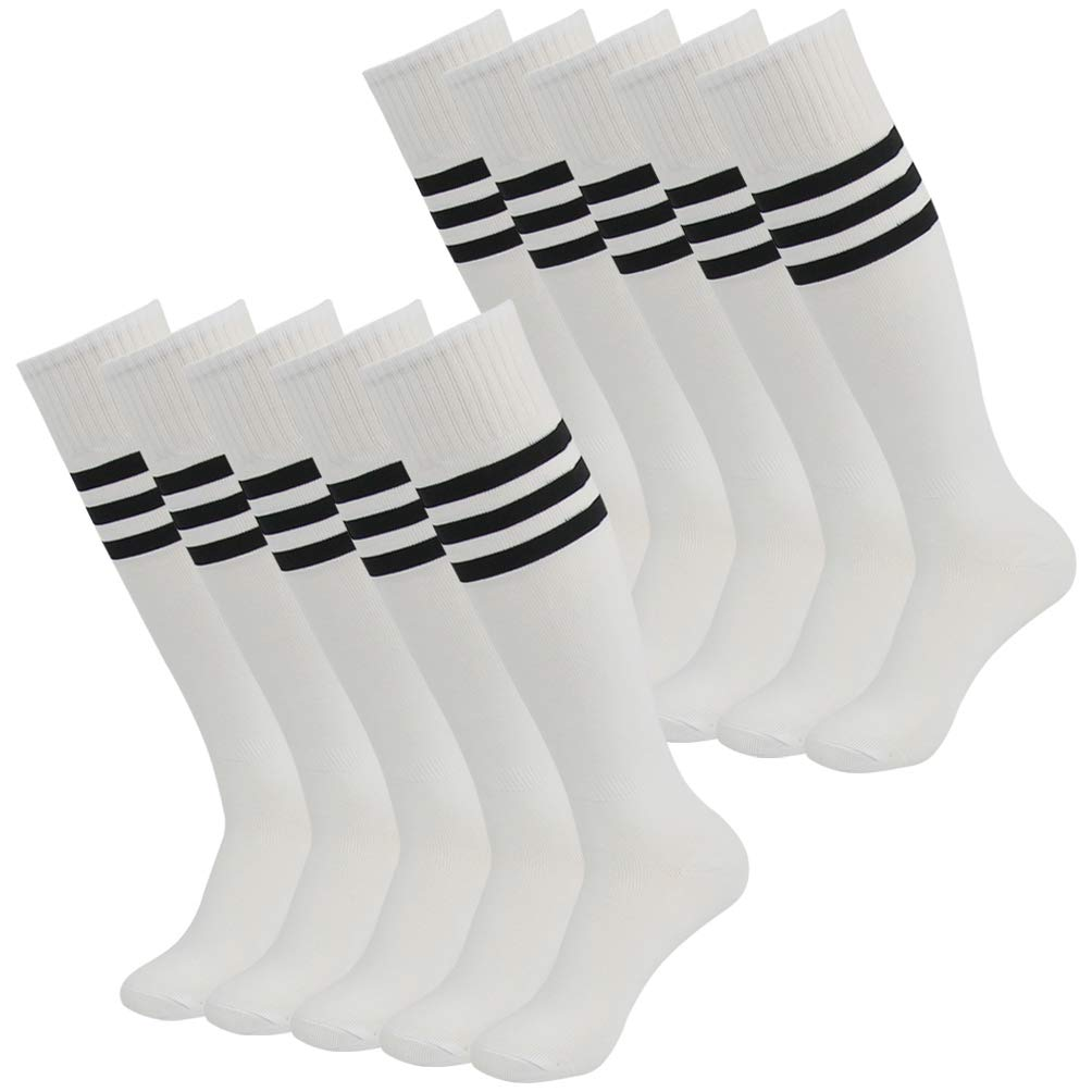 J'colour Football Team Socks, Unisex Knee High Long Sport Rugby Soccer Compression Tube Socks 10 Pairs White&Black Stripe by J'colour