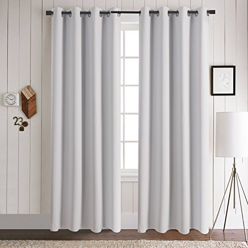 Amazon.com: Aquazolax Premium Solid Top Ring Thermal Blackout Curtain  Panels For Living Room (Set Of 2 Panels, 52x84 Inch, Greyish White): Home U0026  Kitchen