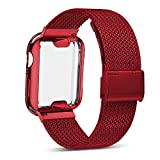 YC YANCH Compatible with Apple Watch Band 38mm with Case, Stainless Steel Mesh Band with Apple Watch Screen Protector Compatible with iWatch Apple Watch Series 1/2/3/4 (38mm Red)