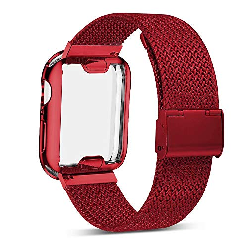 YC YANCH Compatible with Appla Watch Band 38mm with Case, Stainless Steel Mesh Band with Appla Watch Screen Protector Compatible with iWatsh Appla Watch Series 1/2/3/4 (38mm Red) - Steel Face Guards