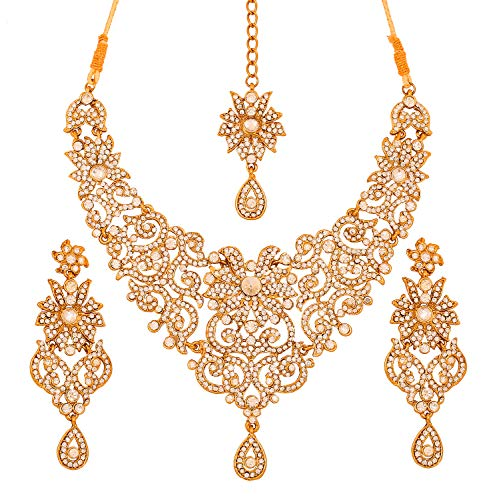 - Touchstone Indian Bollywood Traditional Royal Look Attractive Filigree Carving White Rhinestone Grand Bridal Designer Jewelry Necklace Set for Women in Antique Gold Tone