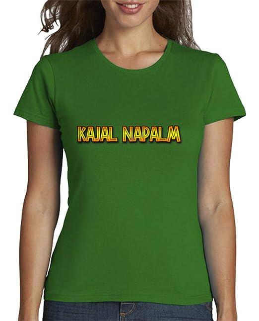 latostadora - Camiseta Kajal Napalm Completa para Mujer Verde S