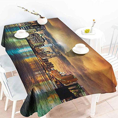 Willsd Water Resistant Table Cloth,City Fantasy Dramatic Sky in New York at Nighttime Stormy Sunset Vibrant Water Reflections,Party Decorations Table Cover Cloth,W54x90L Multicolor
