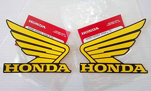 Honda Wings Fuel Tank Gas Tank Stickers Decals 2 X 100mm Yellow / Black Left & Right Brand New 100% Genuine
